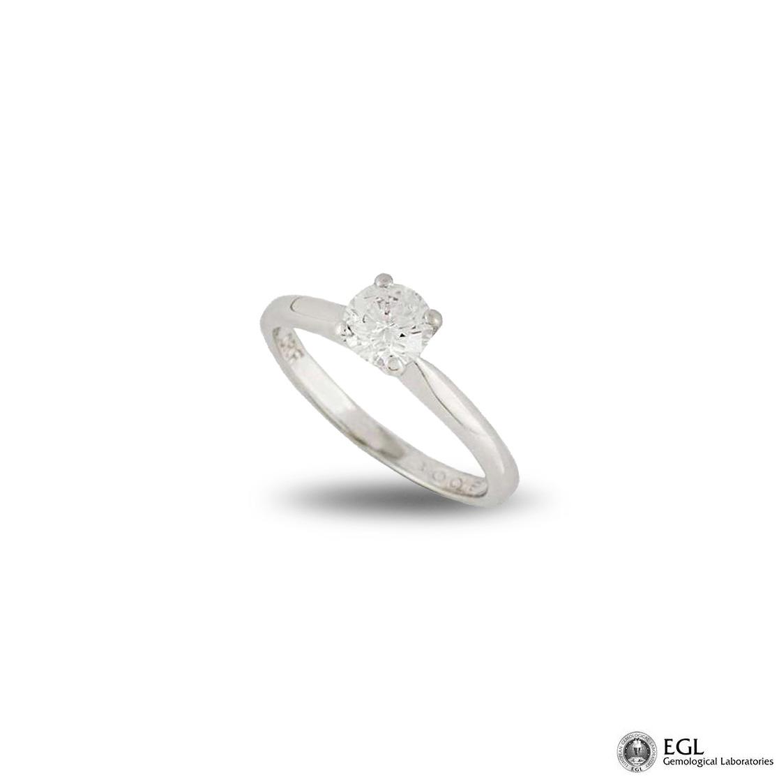 Platinum Round Brilliant Cut Diamond Ring 0.52ct D/IF